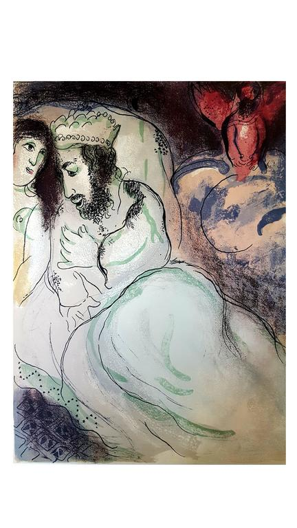 Marc Chagall - The Bible - Sarah And Abimelech - Original Lithograph - Print by Marc Chagall