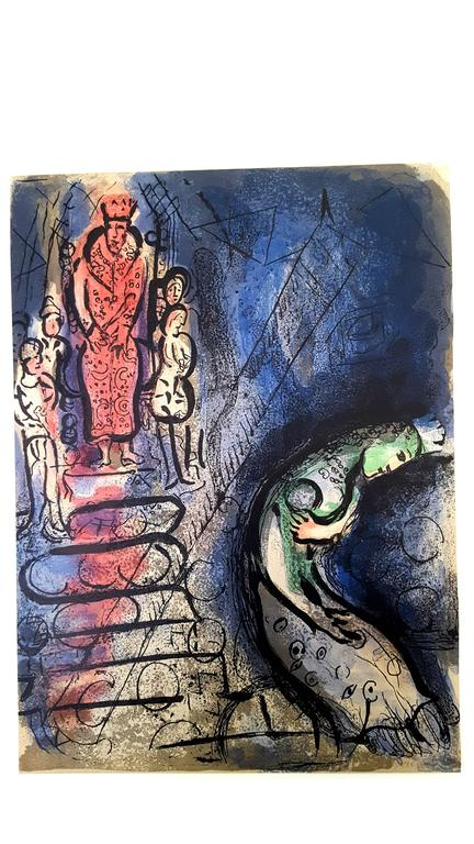 Marc Chagall - The Bible - Ahasuerus Sends Vasthi Away  - Original Lithograph