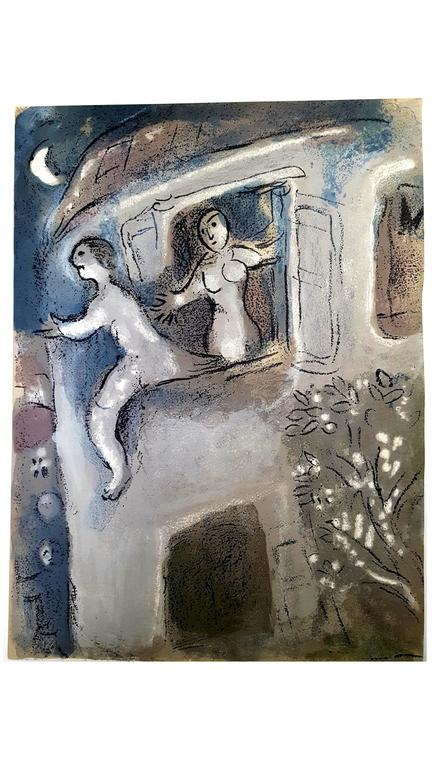 Marc Chagall - The Bible - David saved by Michal - Original Lithograph
