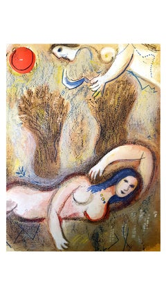 Marc Chagall - The Bible - Boaz wakes up and sees Ruth - Original Lithograph