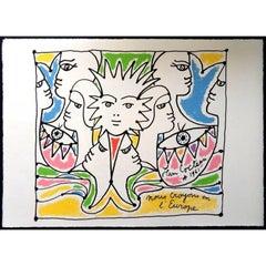 Jean Cocteau - Europe's Colors - Original Lithograph