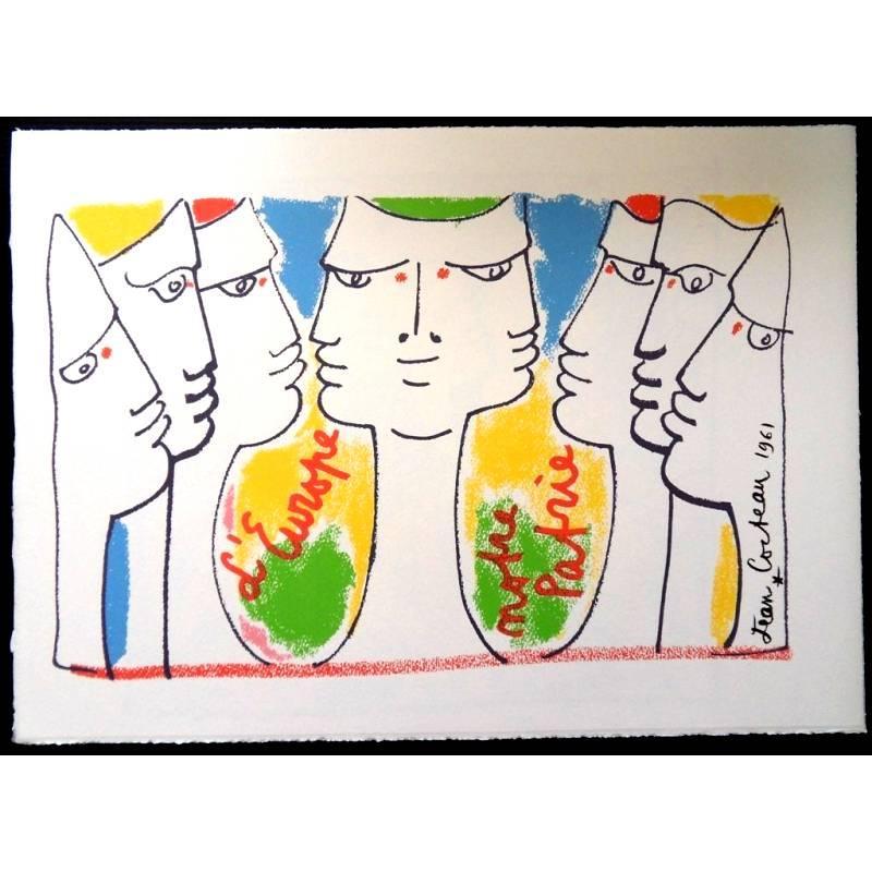 Jean Cocteau - Europe's Construction - Original Lithograph