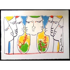 Jean Cocteau - Europe's Construction - Original Lithograph