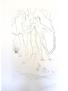 Salvador Dali - Adam and Eve - Handsigned Etching