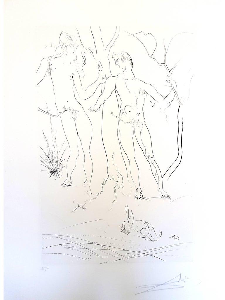 Salvador Dali - Adam and Eve - Handsigned Etching