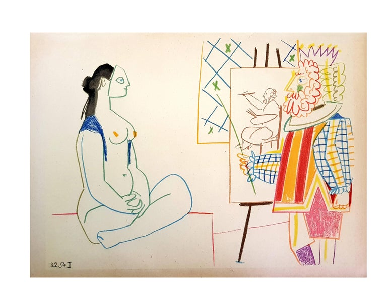 (after) Pablo Picasso Portrait Print - The Human Comedy - Lithograph