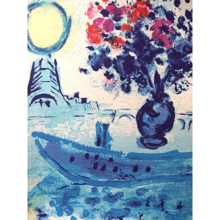 Marc Chagall - Bateau Mouche au bouquet - Original Lithograph - Modern Print by Marc Chagall