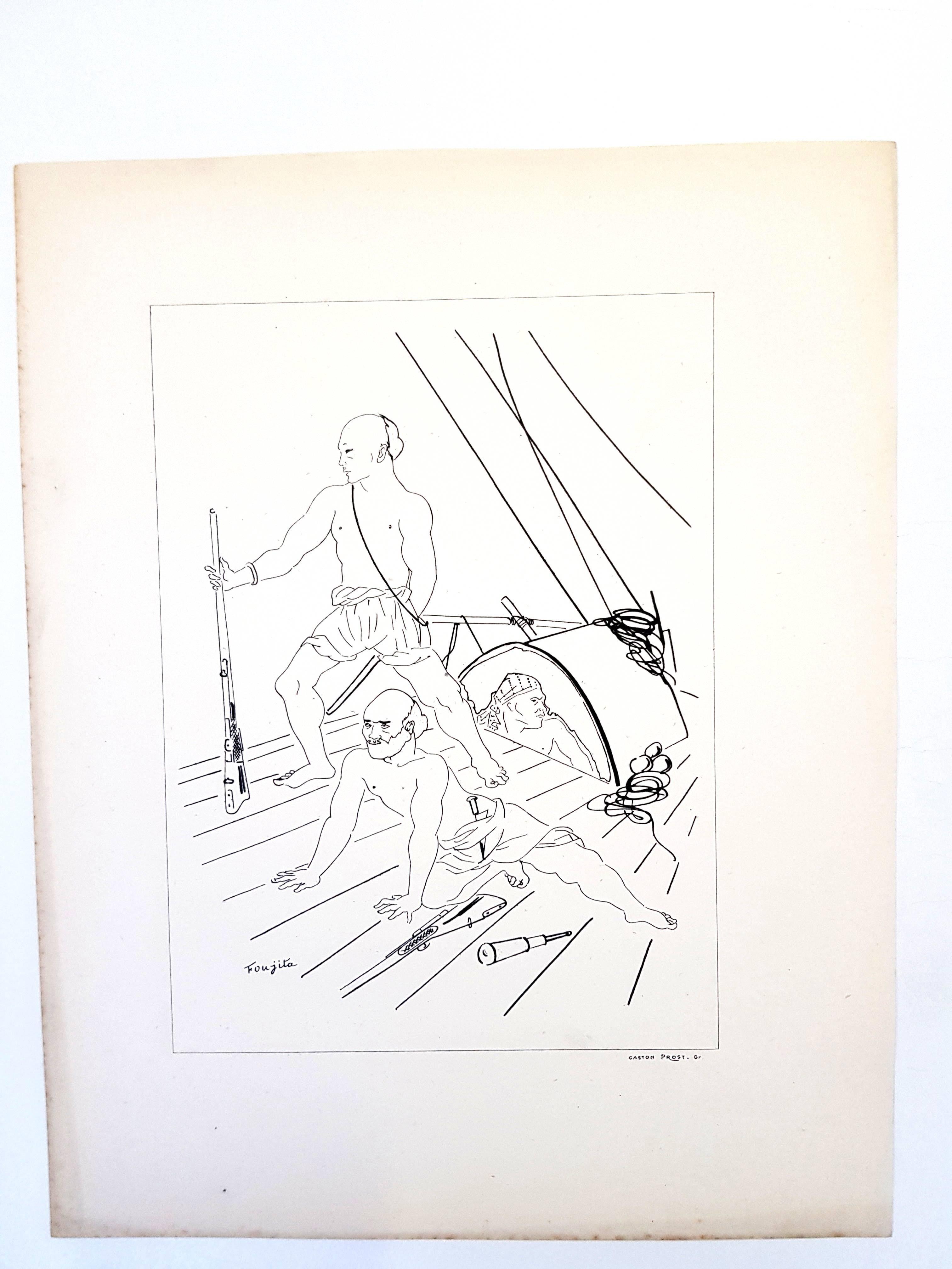 Leonard Foujita - Soldiers - Original Lithograph