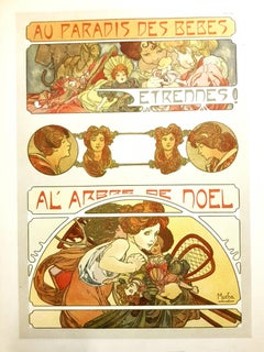 Alfons Mucha - Original Lithograph - Christmas Baby Party