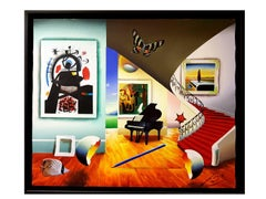 Ferjo - Surrealist Interior - Signed Oil on Canvas