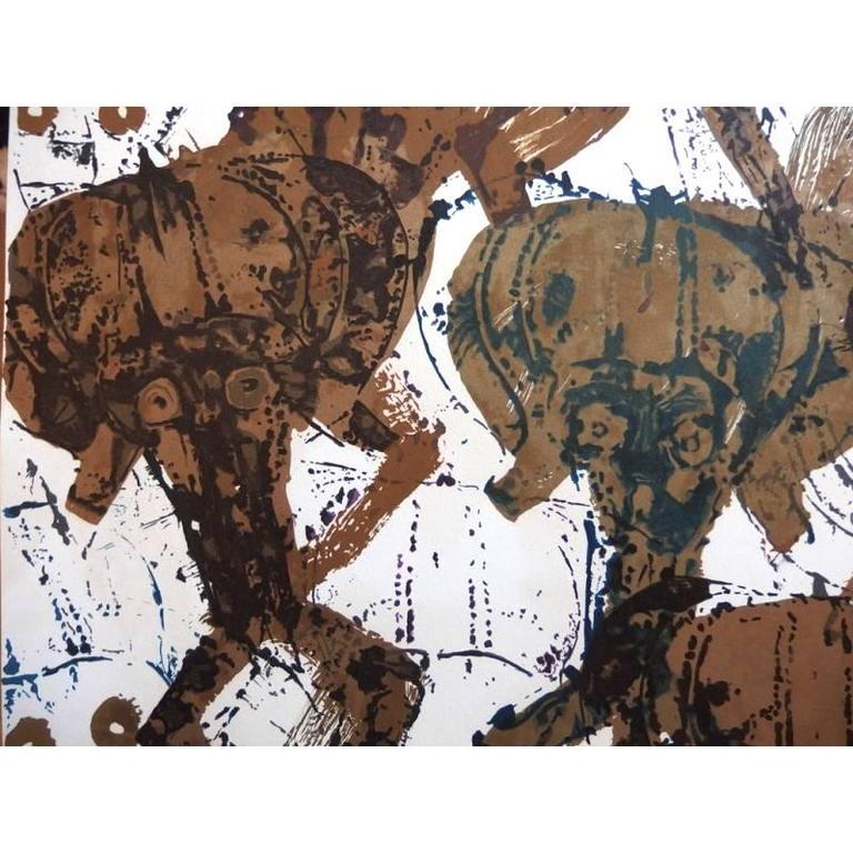 Arman - Kola Sculptures Accumulation - Original Signed Lithograph - Brown Figurative Print by Arman
