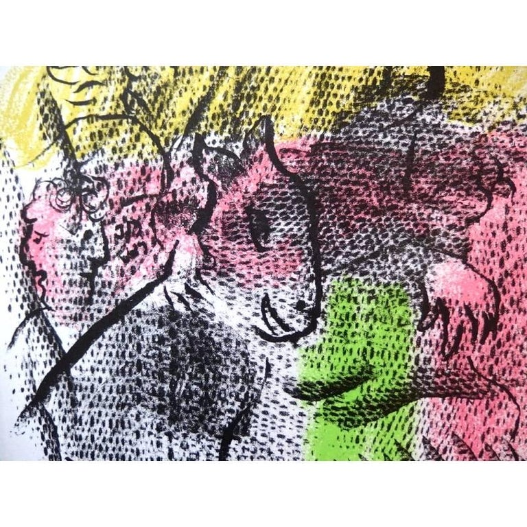 Marc Chagall - Couple With a Goat - Original Lithograph - Surrealist Print by Marc Chagall
