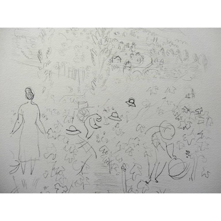after Raoul Dufy - Harvest - Gray Landscape Print by Raoul Dufy