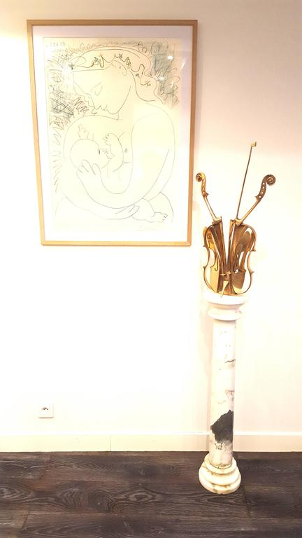 "Arman's -  ""Venice"" - Gilded Bronze Violin Sculpture 3"