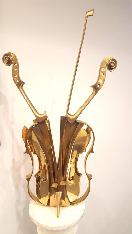 "Arman's -  ""Venice"" - Gilded Bronze Violin Sculpture 2"