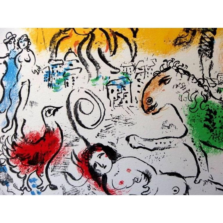 Marc Chagall - The Green Horse - Original Lithograph - Beige Figurative Print by Marc Chagall