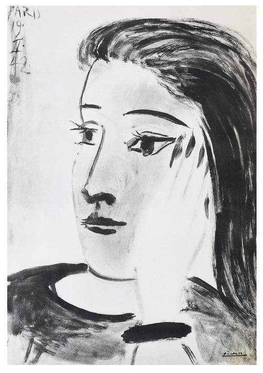 (after) Pablo Picasso Portrait Print - After Pablo Picasso - Woman Portrait
