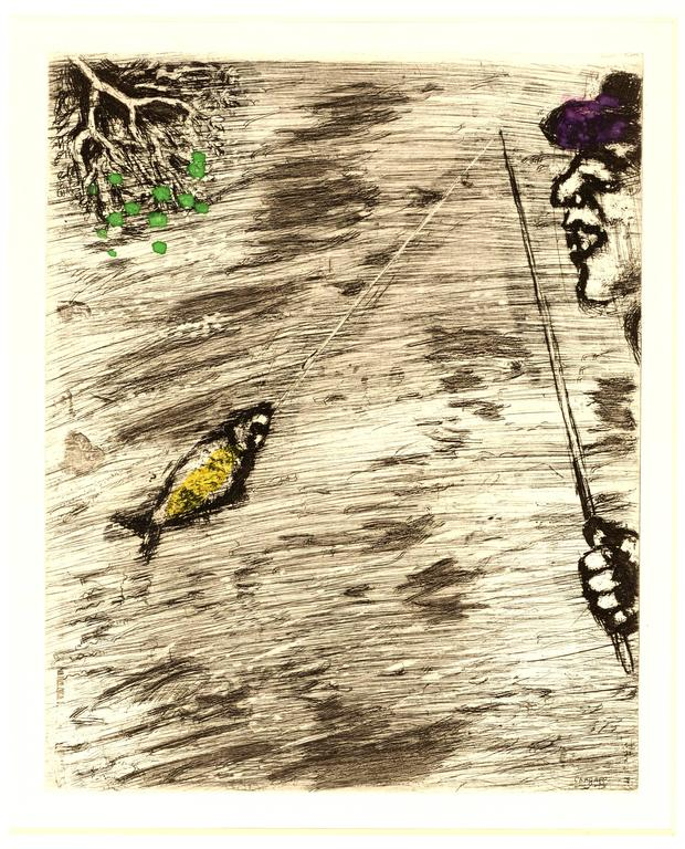 Marc Chagall - The Fisher and Little Fish - Handcolored Etching - Print by Marc Chagall
