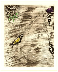 Marc Chagall - The Fisher and Little Fish - Handcolored Etching