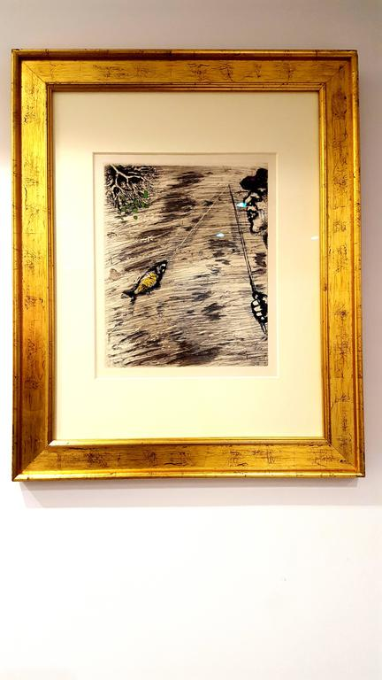 Marc Chagall - The Fisher and Little Fish - Handcolored Etching - Modern Print by Marc Chagall