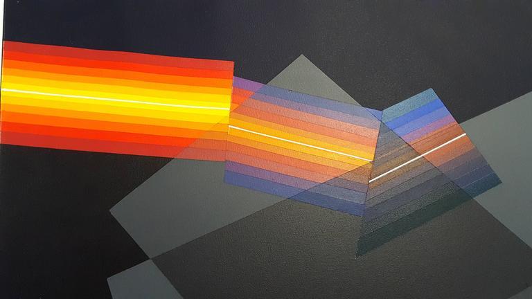 Horacio Garcia Rossi - Light Color - Original Signed Oil on Canvas For Sale 1