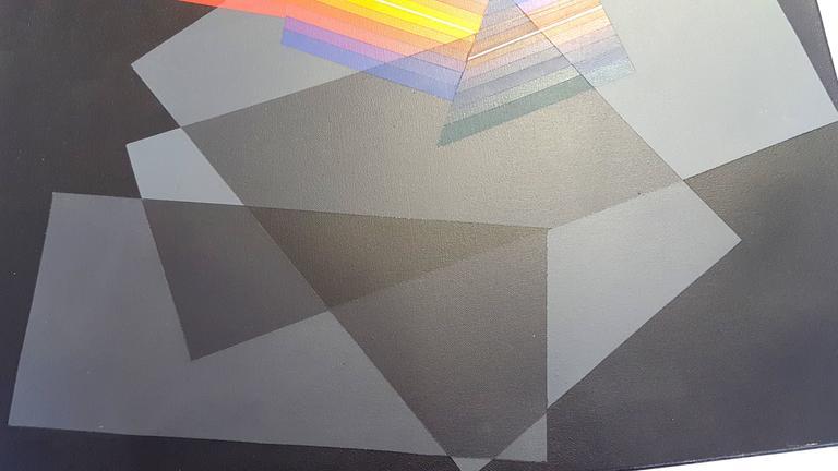 Horacio Garcia Rossi - Light Color - Original Signed Oil on Canvas For Sale 2