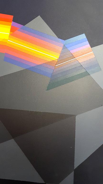 Horacio Garcia Rossi - Light Color - Original Signed Oil on Canvas For Sale 3