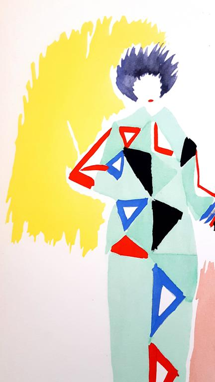 Full-page, colour pochoir of costume designs after Sonia Delaunay-Terk's original drawings. Edition 331/500 copies on Velin Aussedat  Dimensions: 28.5 x 19.5 cm. From 27 Living Paintings. [Milano, Edizioni del Naviglio, 1969]. Jacques Damase. Robes