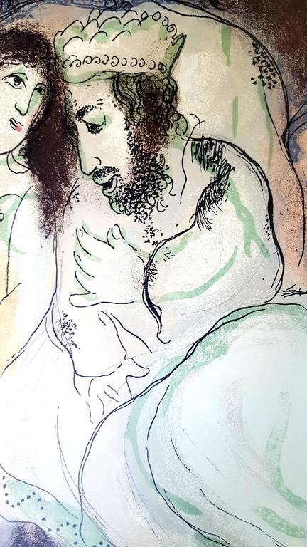 Marc Chagall - The Bible - Sarah And Abimelech - Original Lithograph - Modern Print by Marc Chagall