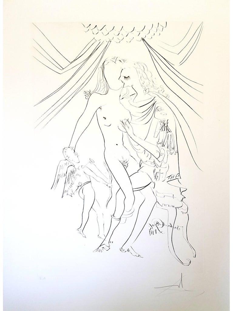 Salvador Dali -  Venus, Mars and Cupidon - Handsigned Etching - Print by Salvador Dalí