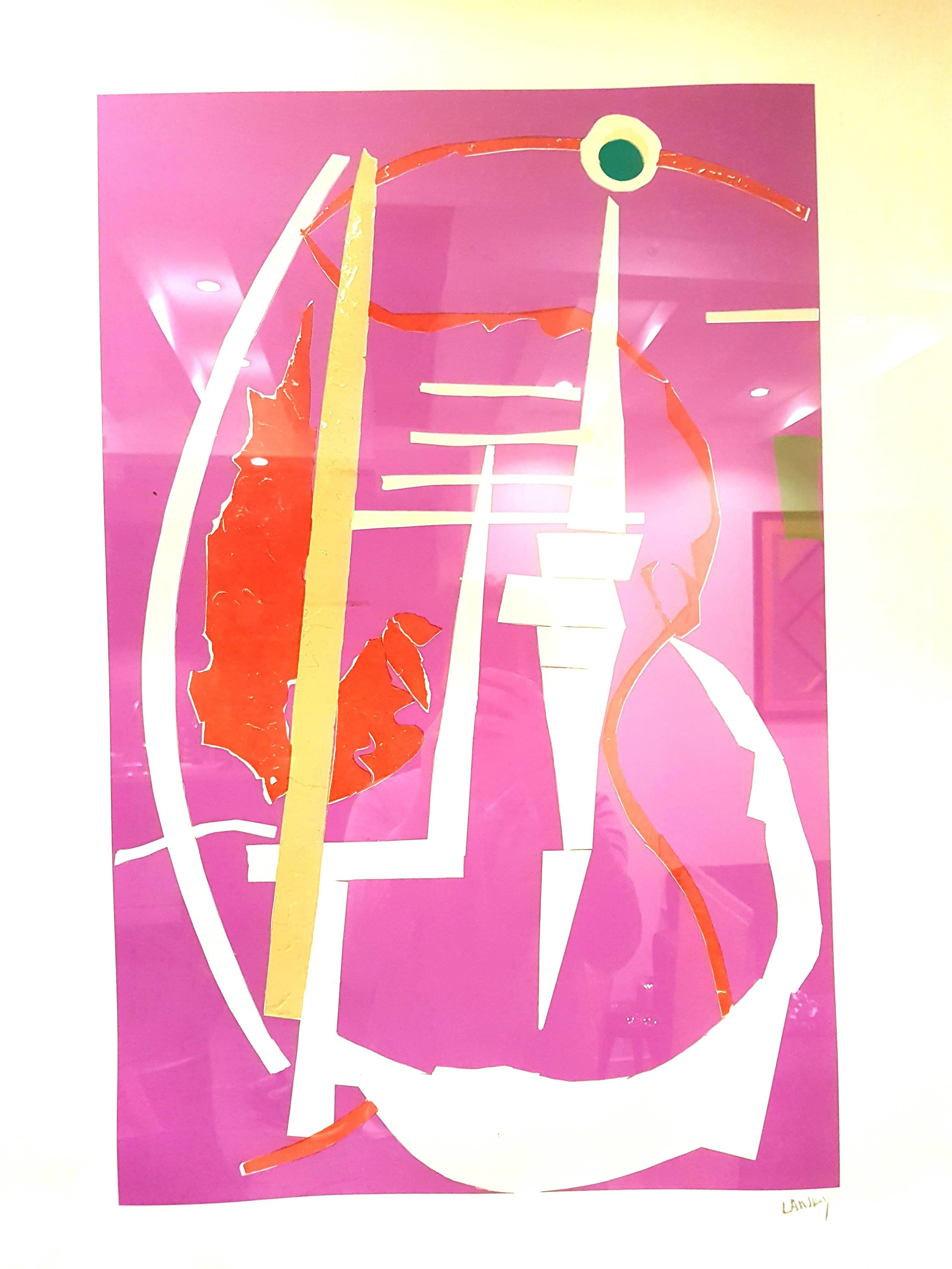 André Lanskoy - Abstract Pink Composition - Original Lithograph