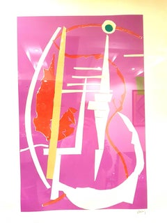 André Lanskoy - Abstract Pink Composition - Original Signed Lithograph