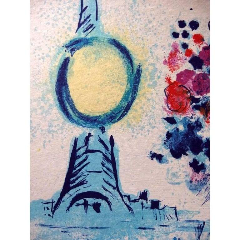 Marc Chagall Original Lithograph Title: Bateau Mouche au bouquet 1962 Dimensions: 39 x 30 cm Edition: 180 Condition : Excellent Reference: Catalogue Raisonné, Mourlot #352  Marc Chagall (born in 1887)  Marc Chagall was born in Belarus in 1887 and