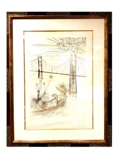 Salvador Dali - Golden Gate Bridge - Original Handsigned Etching