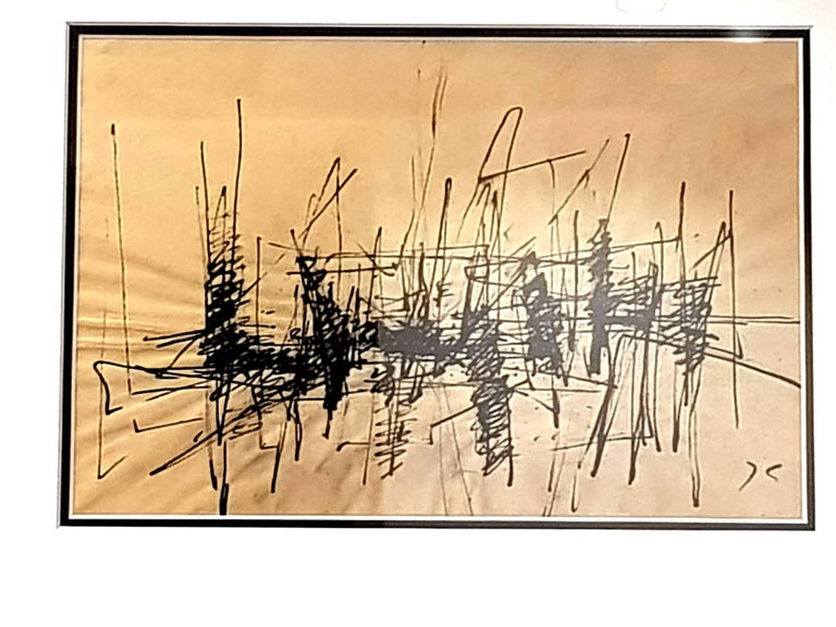 Jacques Germain -Untitled - Original Signed Ink - Abstract Expressionist Art by Jacques Germain