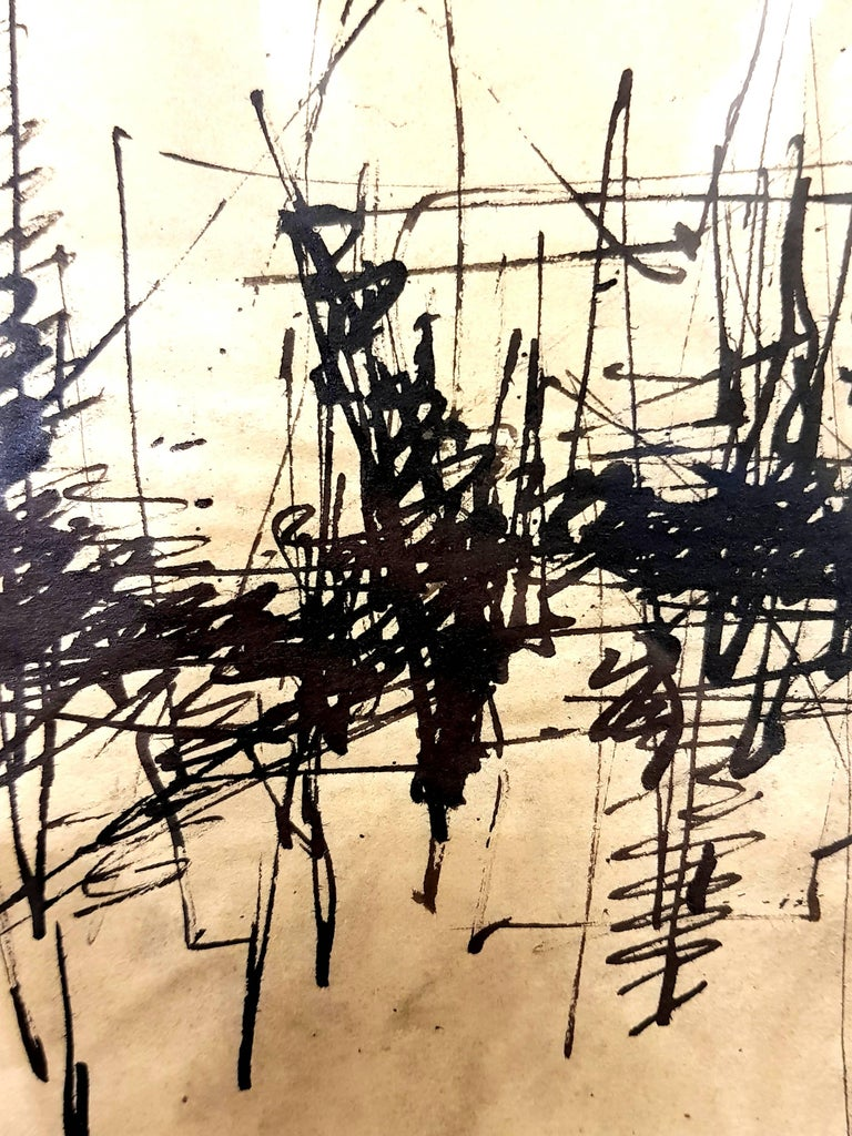 """Jacques GERMAIN (1915-2001) Untitled Circa 1970 Ink on Paper Signed J.G Dimensions: 20 x 30 cm   Born in Paris in 1915, worked with Fernand Léger and Amédée Ozenfant at the Académie Moderne in 1931, went to the """"Bauhaus"""" of Dessau and"""