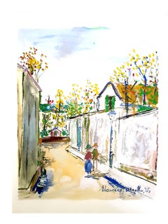Maurice Utrillo - Inspired Village of Montmartre - Pochoir