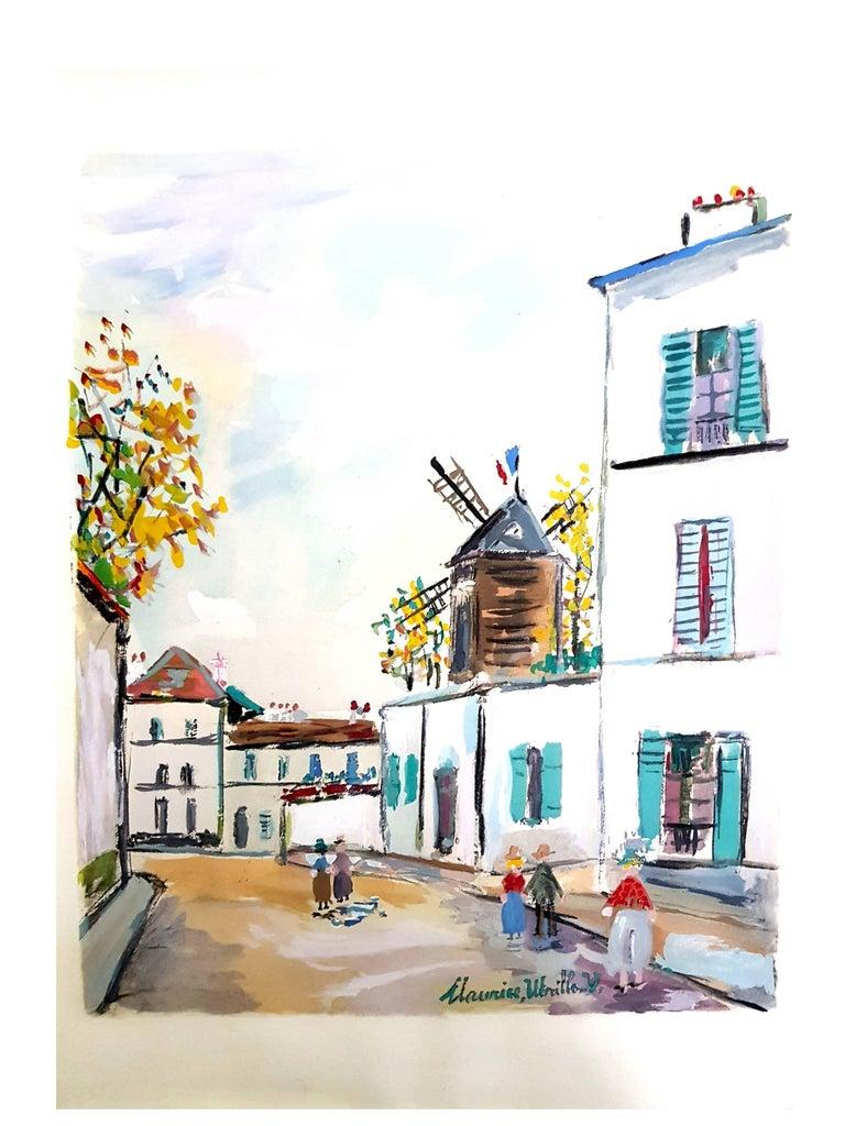 """(after) Maurice Utrillo Inspired Village of Montmartre  Pochoir with printed signature Edition of 490 Dimensions: 39 x 30 cm Information : This print was created for the portfolio """"Le Village inspiré, Chronique de la bohème de Montmartre"""