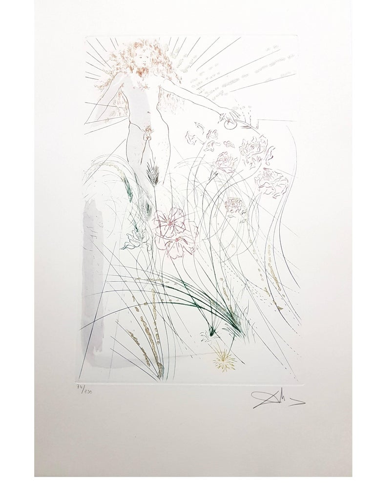 Salvador Dali - The Beloved Feeds Among the Lilies - Signed Aquatint