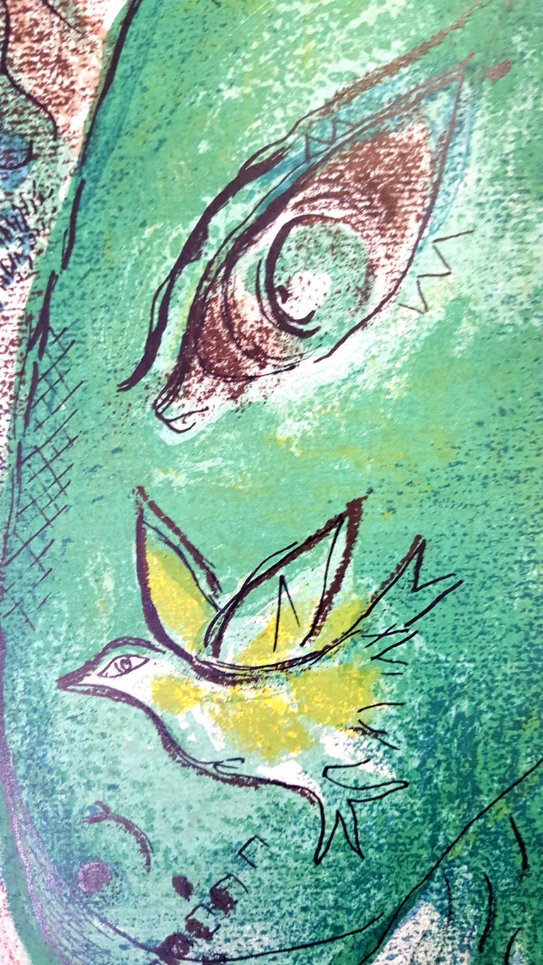 Marc Chagall - The Bible -  Original Lithograph - Gray Animal Print by Marc Chagall