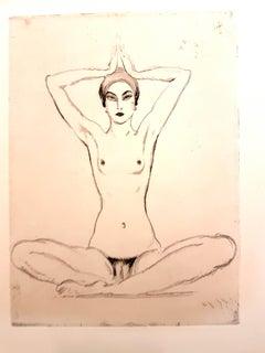 Jean Gabriel Domergue - Woman's Meditation - Original Etching
