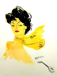 Domergue - Dark Hair Lady with a Scarf - Original Lithograph