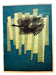 Fumio Fujita - Free Bird - Original Signed Engraving