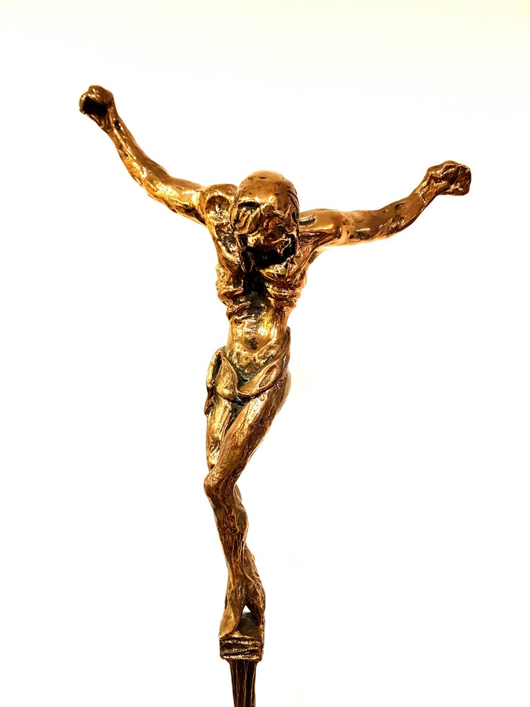 large gilded bronze sculpture - Christ de Saint Jean-de-la-Croix - Sculpture by Salvador Dalí