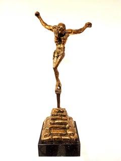 large gilded bronze sculpture - Christ de Saint Jean-de-la-Croix