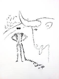Jean Cocteau - Bull Portrait - Original Lithograph