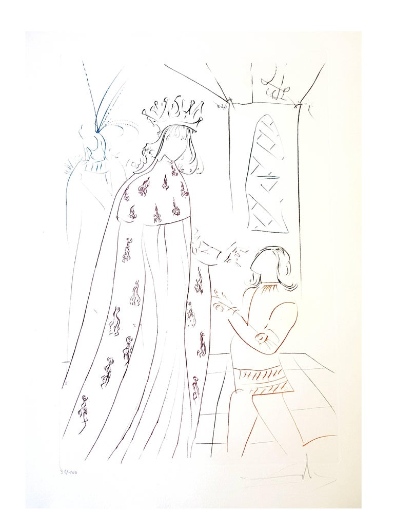 Salvador Dali - The Knighting of Lancelot - Original Handsigned Etching