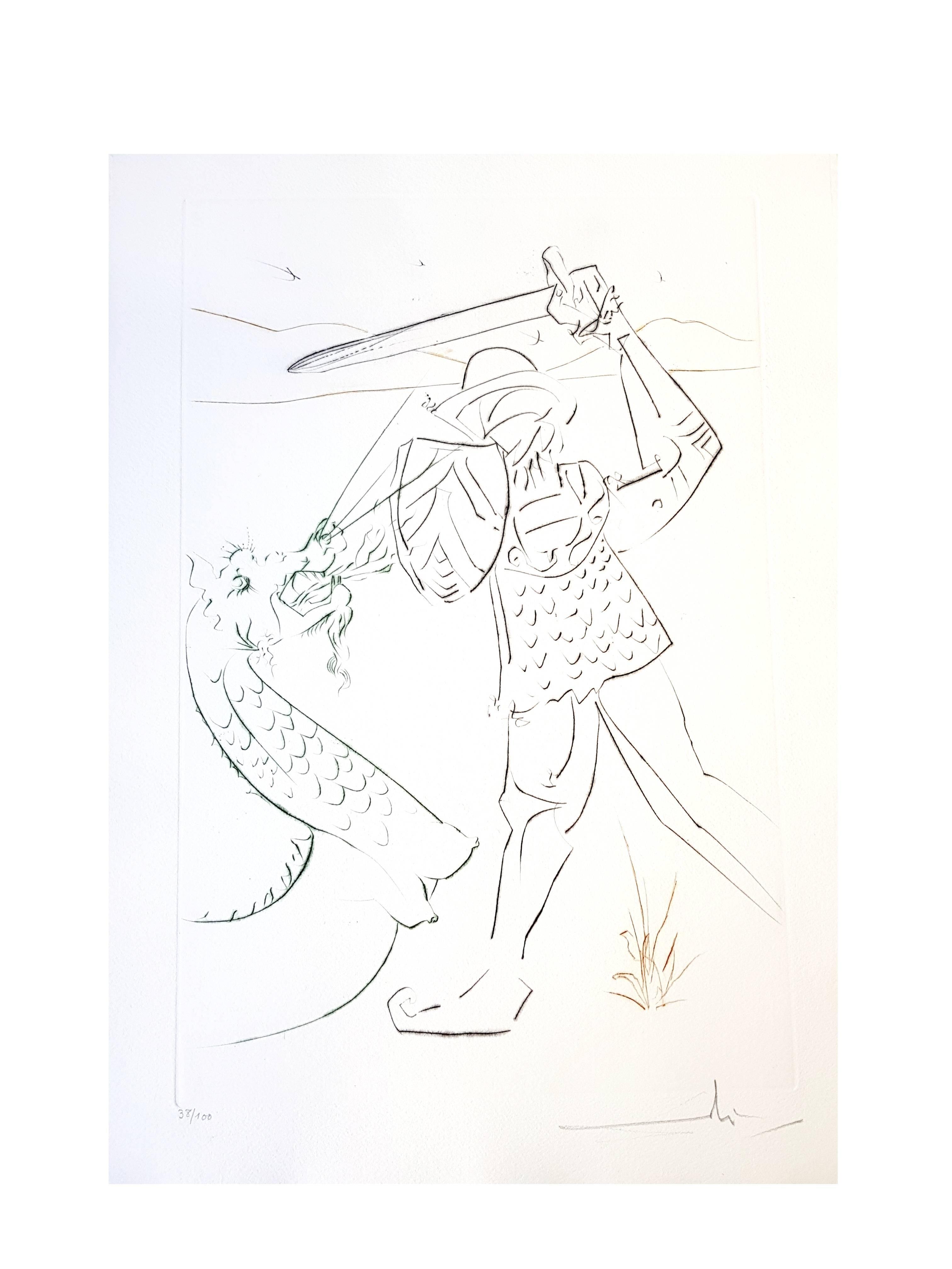 Salvador Dali - The Fall of Lancelot - Original Handsigned Etching