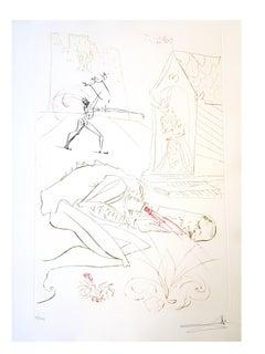 Salvador Dali - Fight Before la Dame  - Original Handsigned Etching