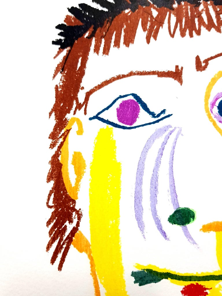 Le Goût de Bonheur: one plate (Portrait) - Beige Portrait Print by (after) Pablo Picasso